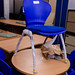 Blue stackable chairs