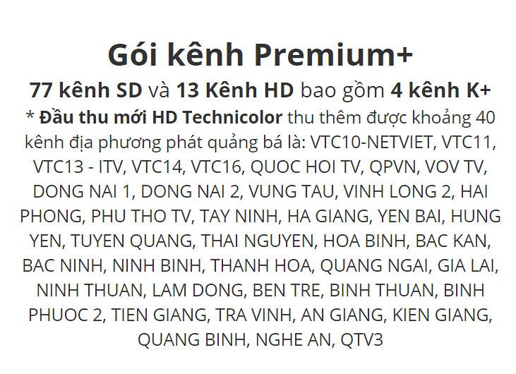 Danh sách kênh truyền hình K+ HD