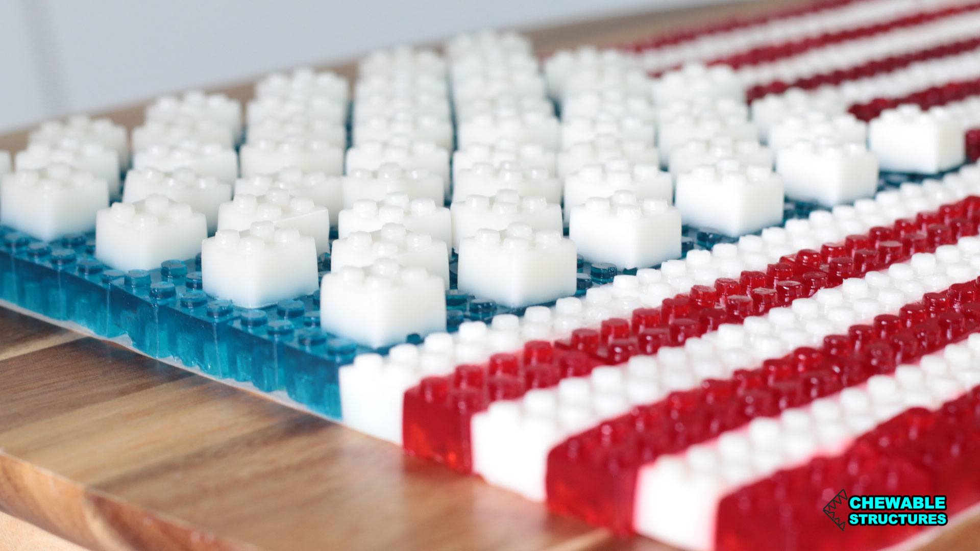American flag made of stackable JELL-O gummies