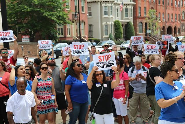 "NJEA members: ""End the Christie-Sweeney shutdown"""