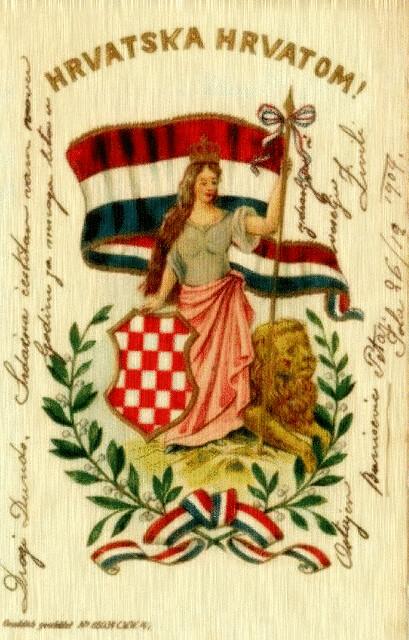 HRVATSKA HRVATOM = CROATIA to the CROATS (Croatian vintage greeting card, dated 06-12-1904)
