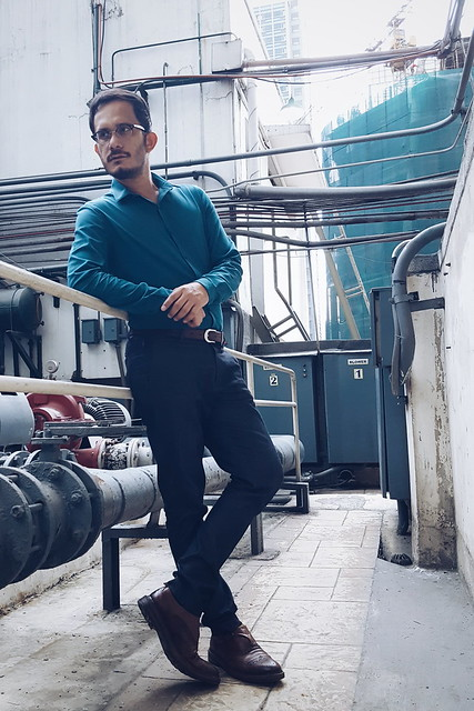 halfwhiteboy - teal shirt and denim fabric dress pants 03
