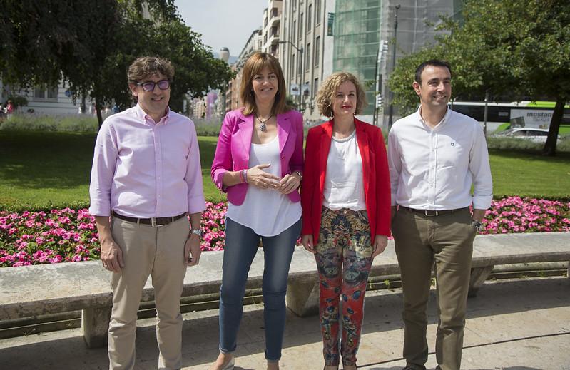 Reunión de Idoia Mendia con los secretarios generales electos del PSE-EE, Mikel Torres, Cristina González y Eneko Andueza