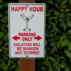 #sign #parkinglot #happyhour #cocktail #martini #humor #hotel #restaurant #woodinville