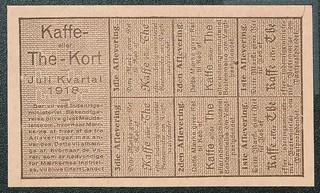 rationeringsmærker, kaffe og te 1918