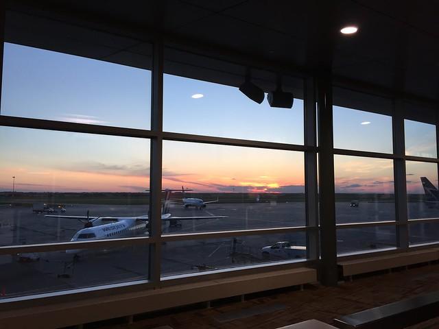Sunset over Edmonton International Airport