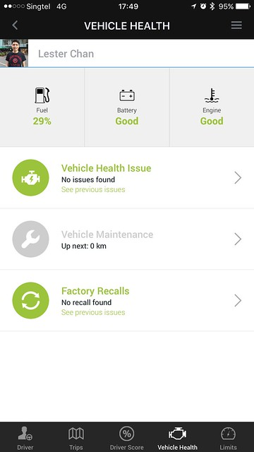 Singtel Smart Car - Modus iOS App - Vehicle Health