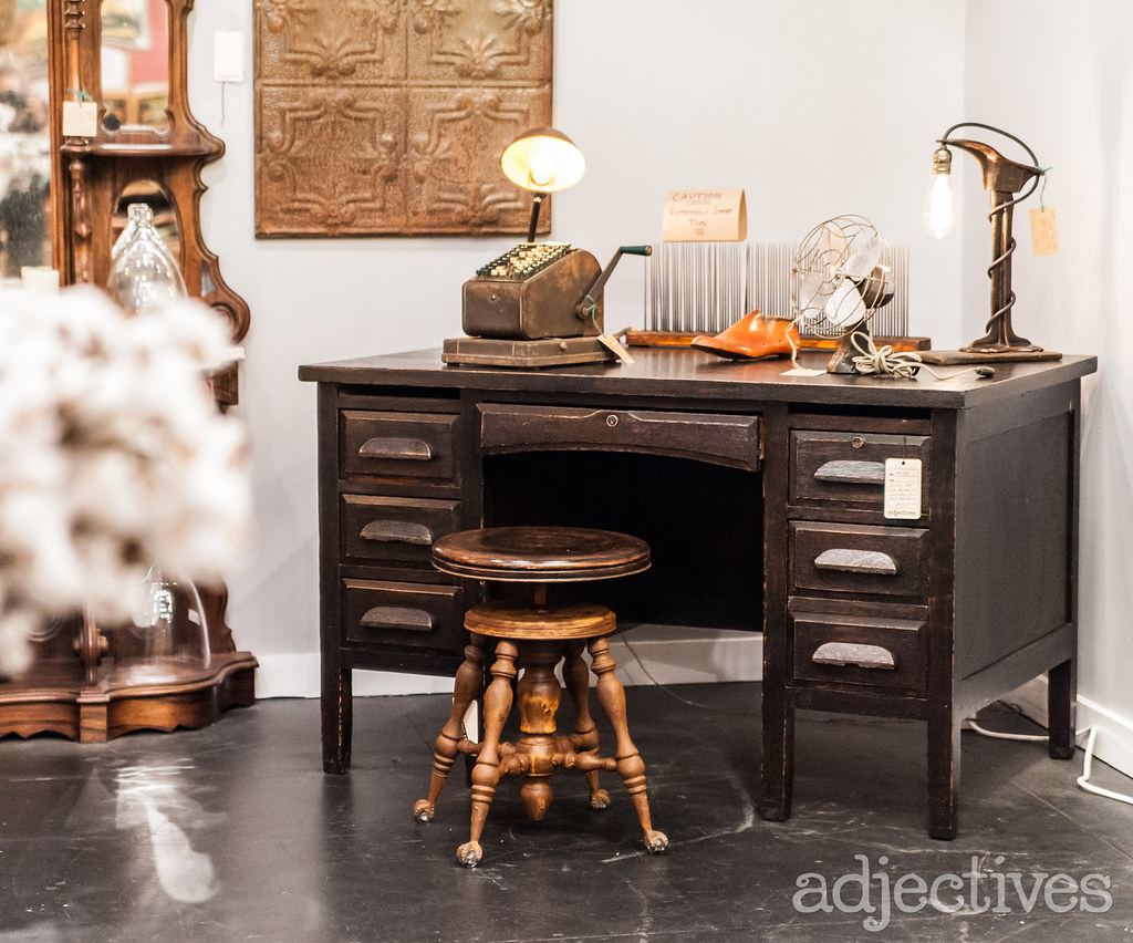 Vintage Desk and stool in Winter Garden by The Rustic Punk
