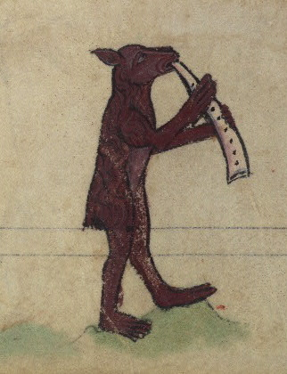 Bear blowing a horn, detail from fol. 79v.