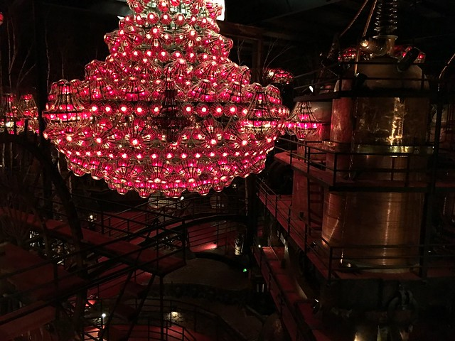 Red chandelier. House on the Rock in Wisconsin