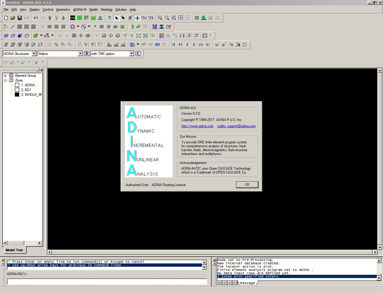 Working with ADINA System 9.3.0 full