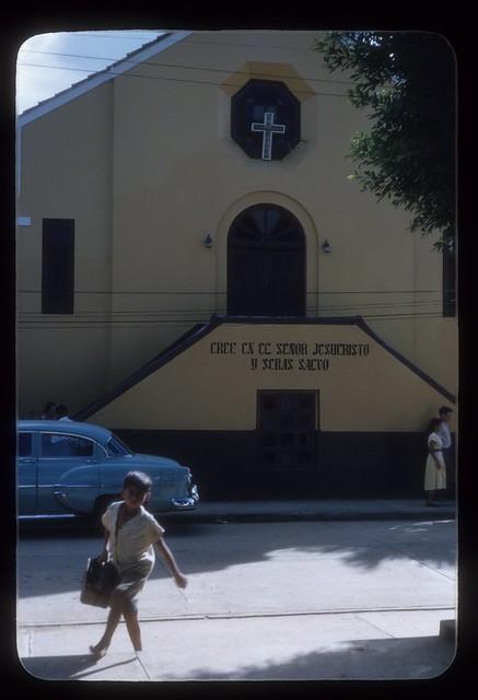 JSM35--Church steps with sign, shoe shine boy