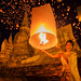 Thai lady enjoy yeepeng festival
