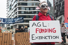 AGL funding extinction - FFFArk AGL: protest calls out AGL's pollution greenwash