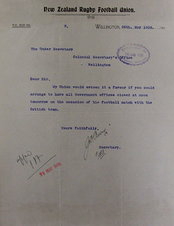 NZ Rugby Union request for Government offices to close early (1908)