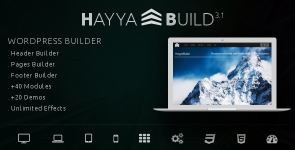 HayyaBuild v3.1 – WordPress Header, Footer and Page Builder