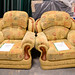 Mixed yellow fabric arm-chair E60 each