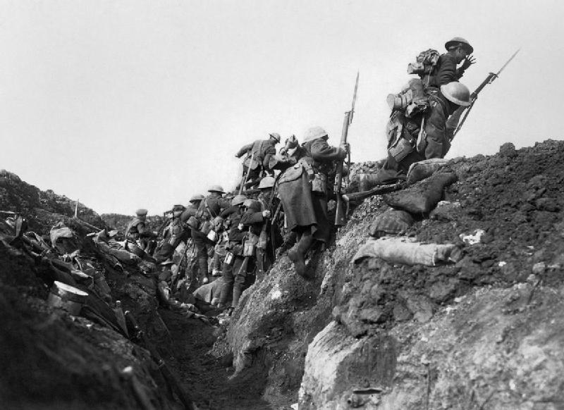Troops 'going over the top' at the start of the Battle