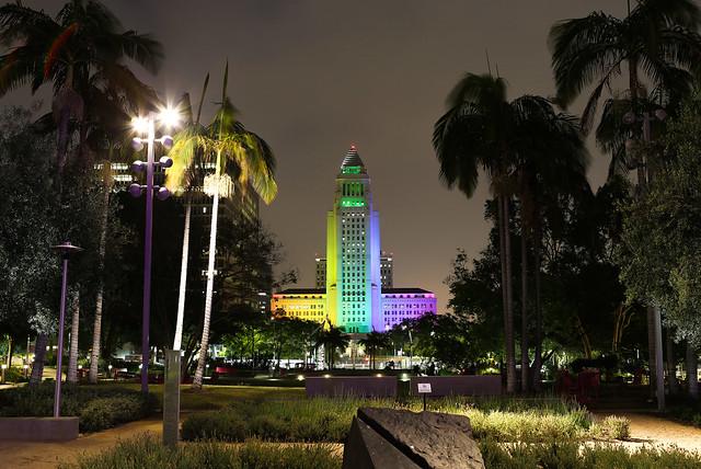 City Hall Lit for LGBTQ Pride Month