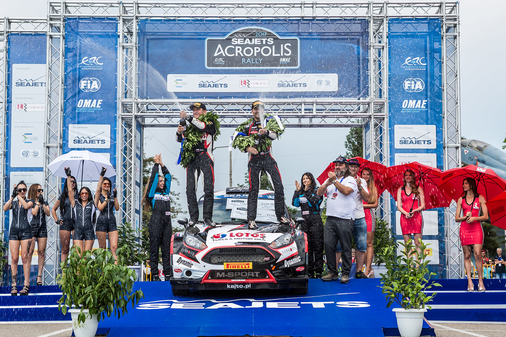 02 KAJETANOWICZ Kajetan (pol) and BARAN Jaroslaw (pol) podium ambiance during the European Rally Championship 2017 - Acropolis Rally Of Grece - From June 2 to 4 - Photo Thomas Fenetre / DPPI