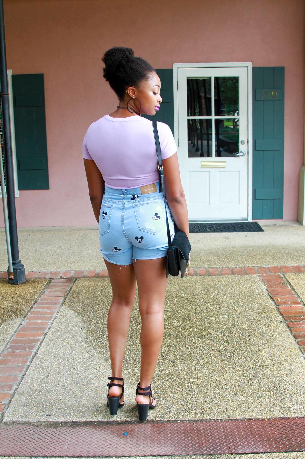 zara Mickey Mouse mom shorts