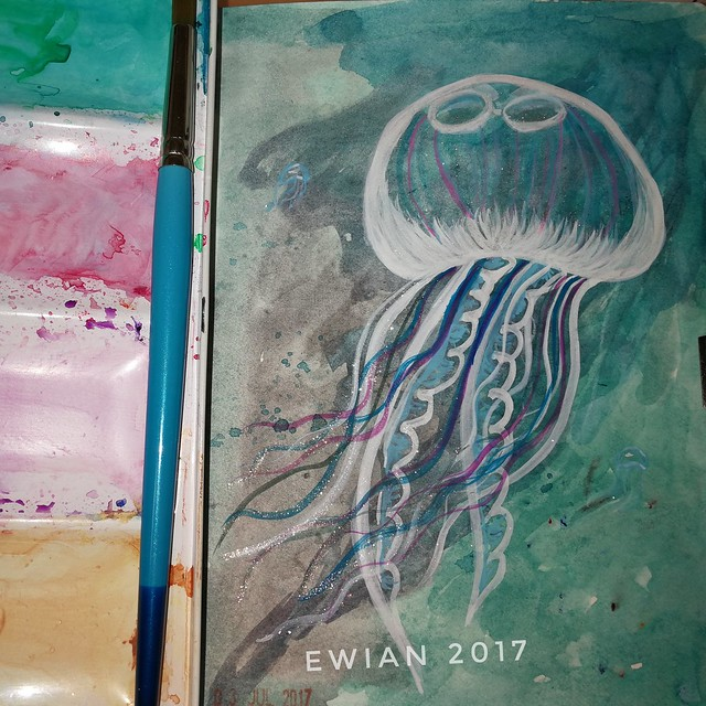A #jellyfish for day 3 of the #worldwatercolormonth not the most original motif but I realised I only have one in my arsenal in ink so, here is one in #watercolour #watercolor #illustration #sea