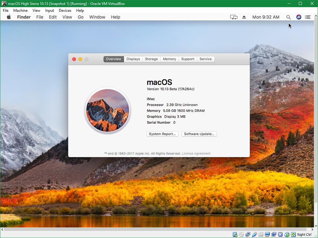 Hướng dẫn cài đặt macOS High Sierra 10.13 trên VirtualBox