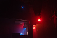 exit signs, red blue lights