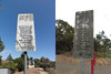 A comparison of these old weathered signs by the busway