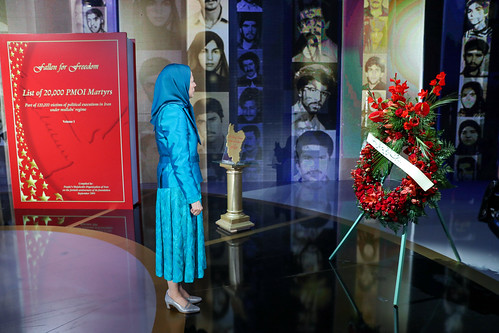 Paying tribute to the Resistance's 120,000 martyrs at their monument at the Free Iran Gathering, Villepinte, Paris, July 1, 2017-1