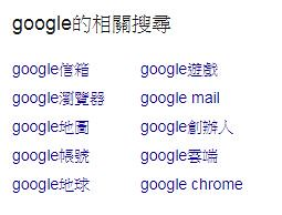Google的延伸再搜尋(相關搜尋)