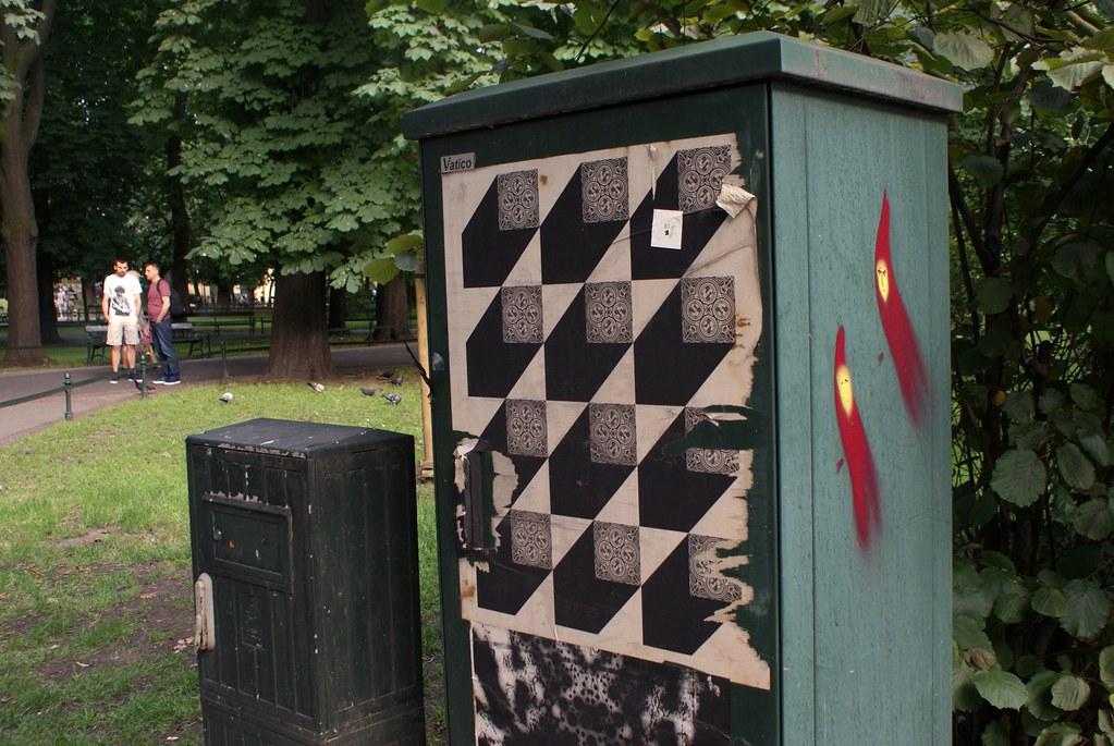 Street art dans le parc des Planty autour de la Vieille Ville de Cracovie.