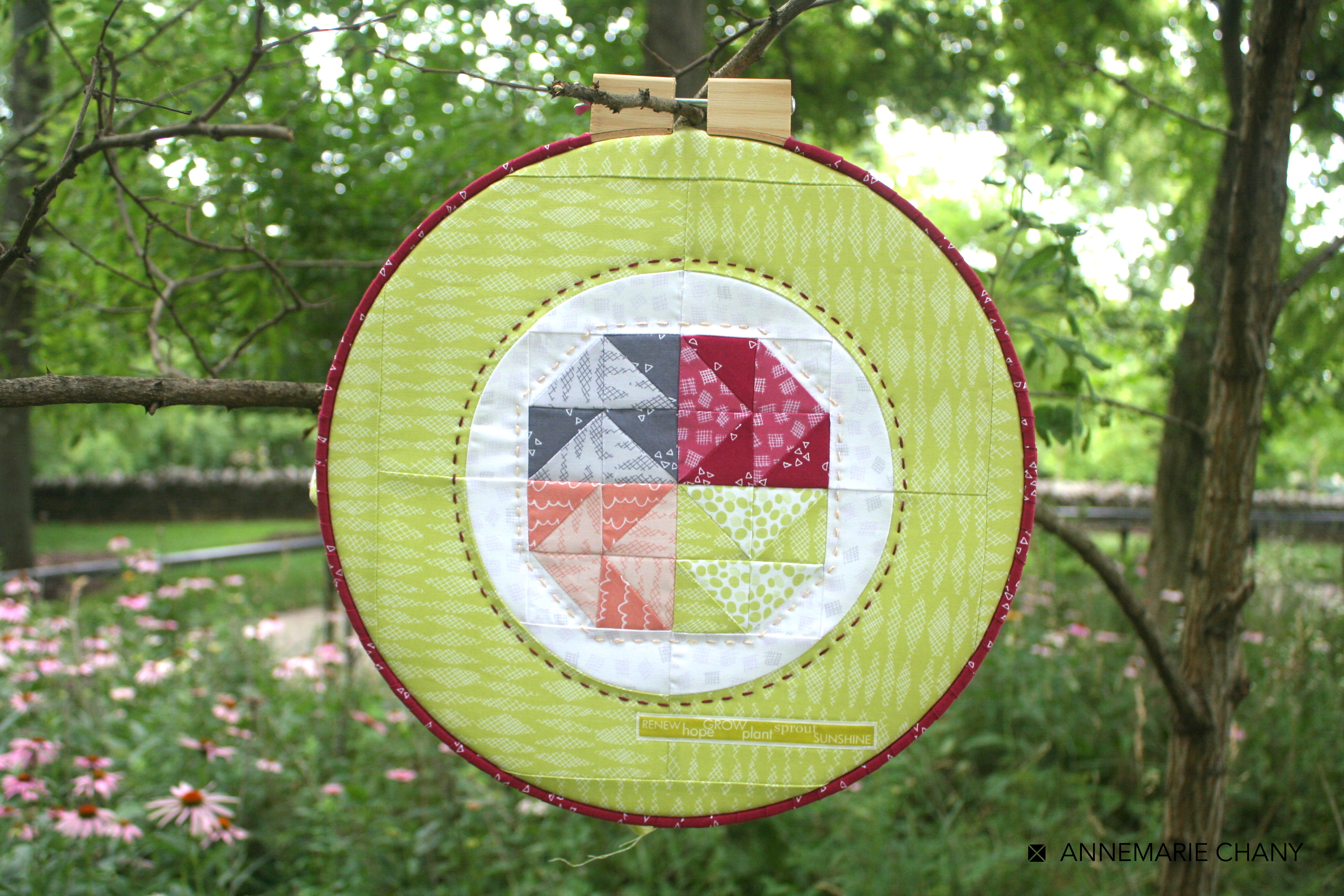 Improv Hoop Quilt Enchinacea by AnneMarie Chany