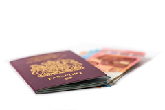 UK passport with Euro Currency