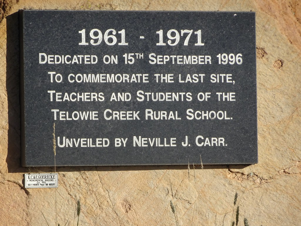 Telowie. Memorial plaque for the Telowie School which closed in 1971.