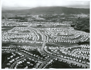 Aerial view of Porirua East and Cannons Creek looking West towards Porirua City.