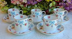 Vintage Crown Staffordshire Porcelain Cups & Saucers ~ Blue Bow