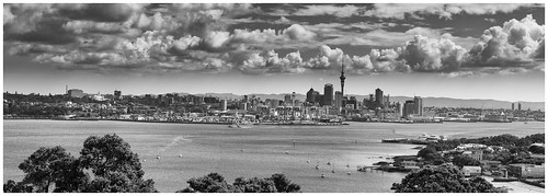 auckland newzealand northhead blackwhite 100mm primelens panorama landscape clouds silverefex monochrome