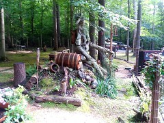 Whiskey barrel waterfall with bog.