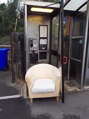Looks like public telephone boxes are being upgraded with luxury seating...