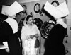 Begum Raana Liaquat Ali Khan talking to nurses in a charity hospital, USA