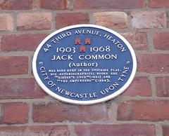 Photo of Jack Common blue plaque