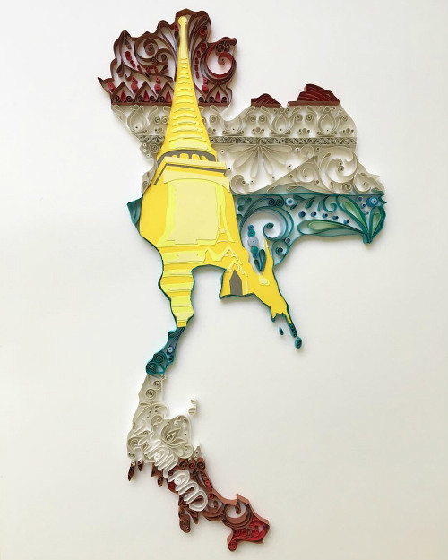 Quilled and Papercut Thailand Map by Akiko Makihara