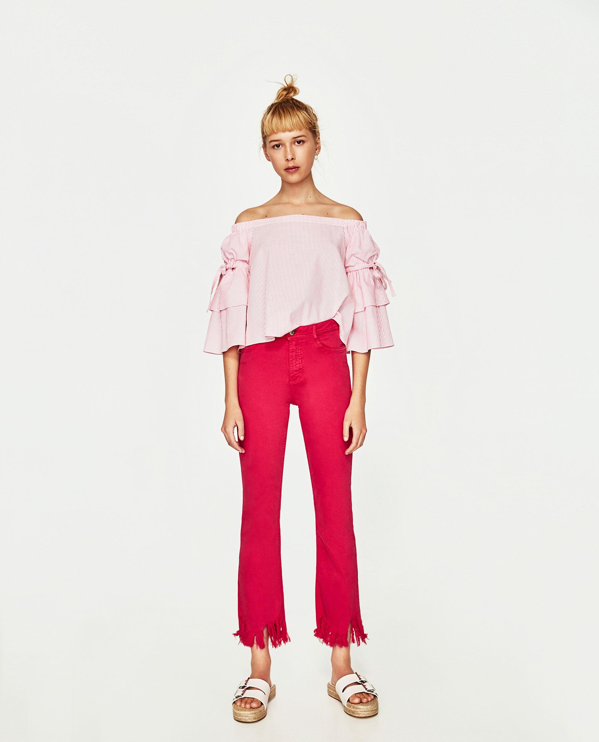 Jeans Zara sfilacciati rosa vita alta