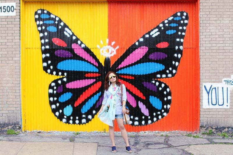 denim-shorts-button-down-shirt-butterfly-wall-6