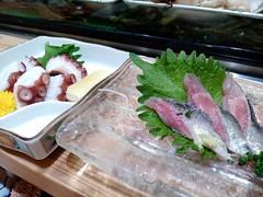 Iwashi and Tako sashimi in Fukuoka Airport