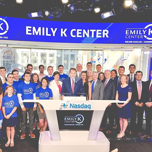Coach K and the @emilykcenter had quite a big morning ringing the @nasdaq opening bell.