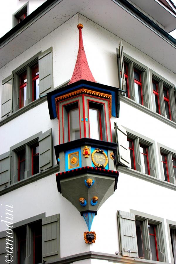 Festina Lente, window detail, Lucerne