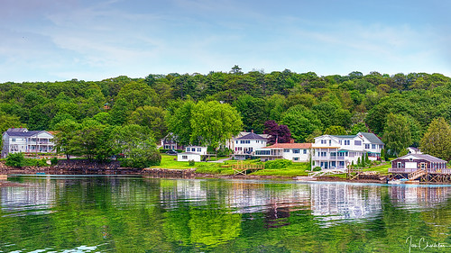 boothbay boothbayharbor maine reflection newengland summer trees landscape seascape houses travel lowtide