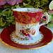 Vintage Hammersley Bone China Porcelain Cup & Saucer ~ Floral ~ Gold